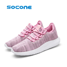 SOCONE women walking shoes lace up outdoor dmx synthetic breathable vamp light tennis shoes men shoes