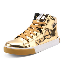 Men's Fashion Sneakers 2018 Spring Autumn Glossy Surface Streert Hip Hop Shoes for Men Casual Walking Shoes High Top Plus Size
