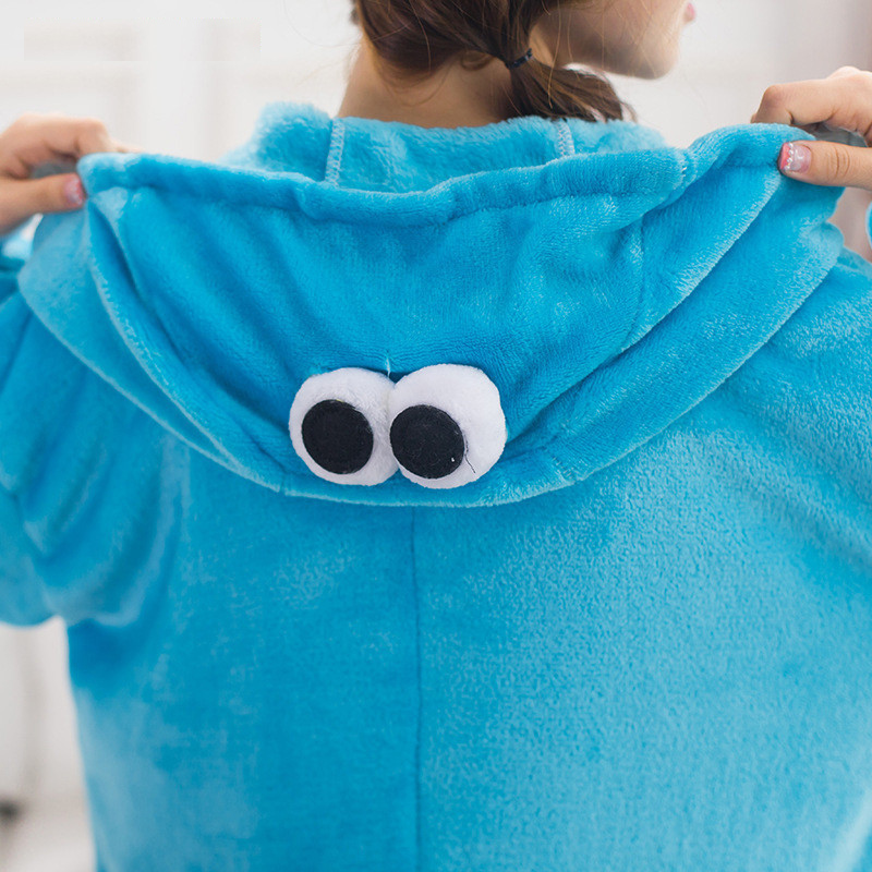 Kigurumi-Blue-Sesame-street-Onesies-Pajamas-For-Adults-Cute-Animal-Cosplay-Pyjamas-Unisex-Cookie Monster sleepwear