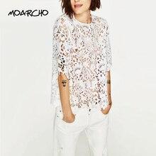 Moarcho элегантные цветочные кружева блузка рубашка Для женщин белая блузка с коротким рукавом сезон весна-лето выдалбливать повседневные брендовые Топы Blusas