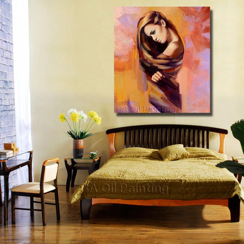 Free Shipping Beautiful Girl Oil Paintings Canvas Art Cheap Hand ...