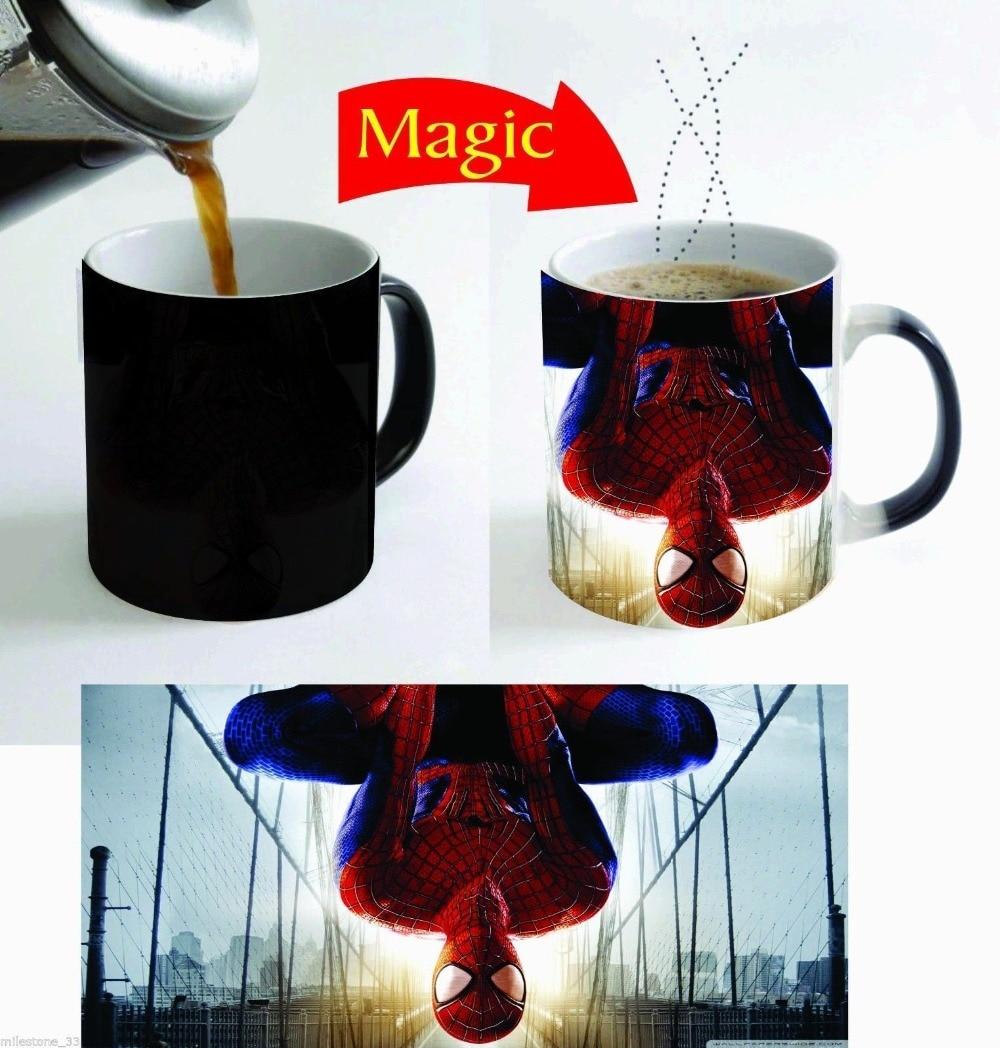 spiderman mug Magic mug the avangers mugs novelty heat reveal cup cold hot semsitive heat changing