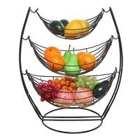3 Tier Black Triple Hammock Fruit/Vegetables/Produce Metal Basket Rack Display Stand