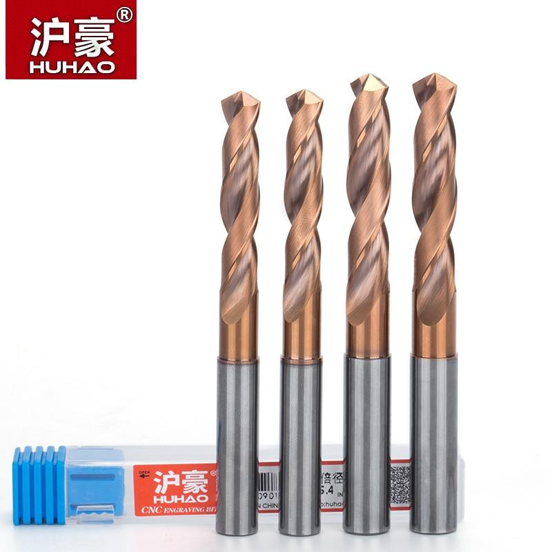 HUHAO 2pcs/lot Twist Drill Bit HRC65 Solid Carbide Drill Bits For Hard Metal Drilling 3D Whole Tungsten Steel Matkap