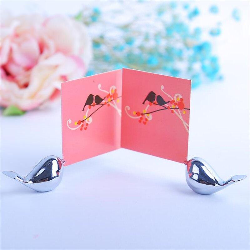 20PCS / LOT Kärlek Fåglar Bröllop Place Card Holder Borstat Silver - Semester och fester - Foto 5