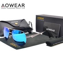 AOWEAR Primera Marca de Lujo Clásico Aviator gafas de Sol Polarizadas de Los Hombres de Aleación de Revestimiento Azul de Conducción Gafas de Sol Gafas de Sol Hombr