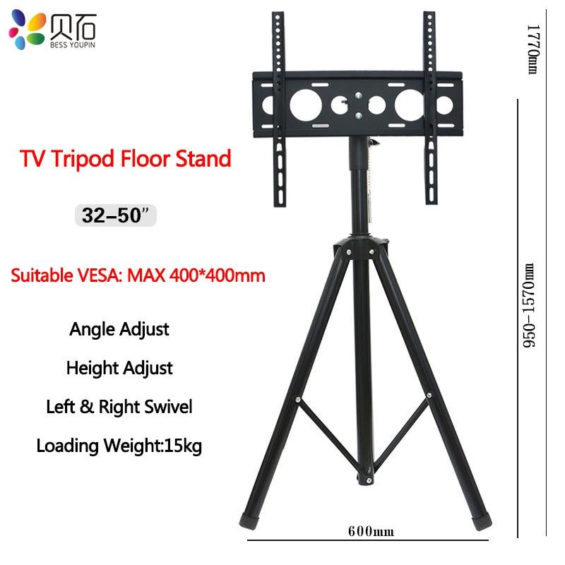 Height Adjustable TV Floor Tripod Stand 15kg Tilt Swivel LCD Monitor Portable Tripod Mount Mobile TV Lift Holder VESA 400x400mm-in TV Mount from Consumer Electronics    1