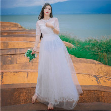 New High Quality Explosions Leisure Vintage Elegant Dresses Women Embroidery Lace grace fullSleeve Spring summer Casual  Dress