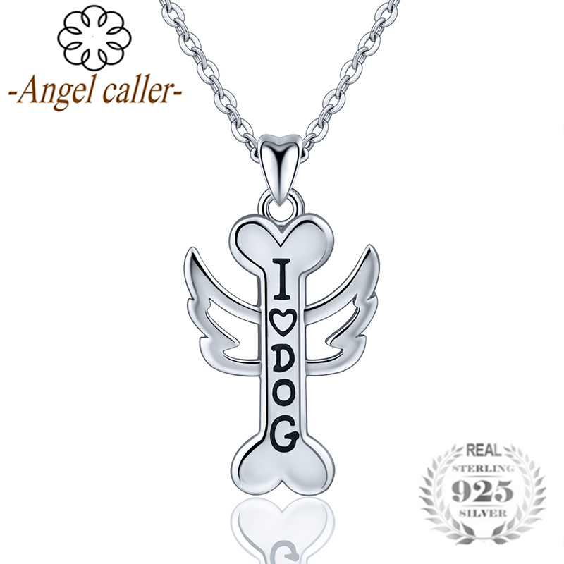 Angel Caller 925 Silver Bone Pendant Necklace Personalized Dog Bone Initial Charm Pet Jewelry for Gril Brithday Gifts