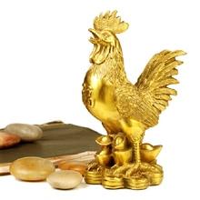 Neue Jahr Imitieren Kupfer Goldene Cock Chinese Traditional 12 Tiere Fengshui Talisman Handwerk Büro Zu Hause Dekorationen Freies schiff