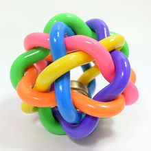 Fashion Novelty Squeak Pet Toys Rainbow Rubber Bells Cat Dog Toys Ball Pet Christmas Gifts Dog Products Wholesale Sales