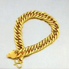 Мужской браслет из твердого желтого золота с двойным бордюром