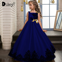 Flower Girl Pageant Princess Dress Elegant Party Dress for Wedding and Birthday Mustard Yellow Royal Blue Long Dress