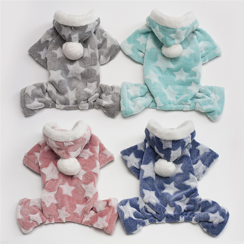 Pet Cat Clothes Mascotas Pet Hoodie Clothing Cute Stars Cat Clothes Puppy Wool Warm Pet Cat Jacket Set