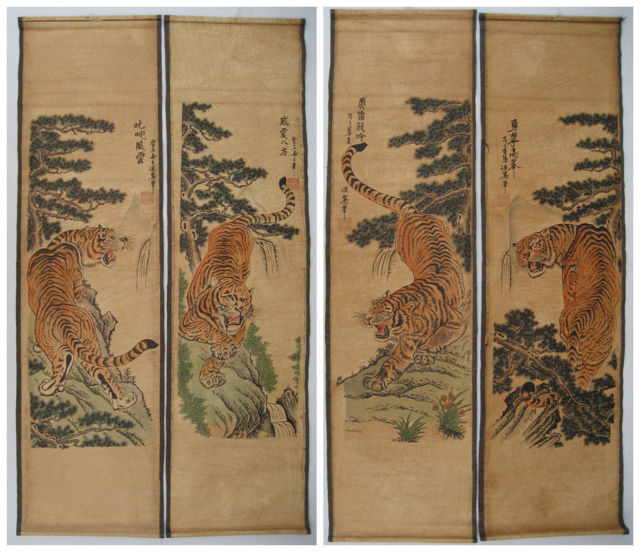 Antique Chinese Scrolls: Exquisite Chinese Scroll Painting 4 Tigers Antique
