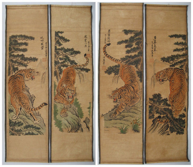 Exquisite Chinese scroll painting 4 tigers Antique paintings