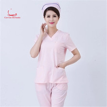 New nurses wear split suit knit white coat slim wash suit suit white pink