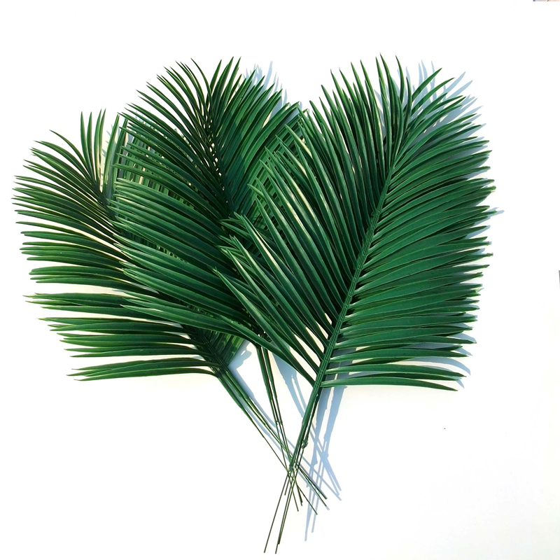 Artificial palm leaves 10pcs green plants decorative for Faux palmier deco