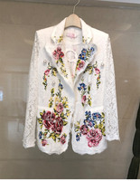 New arrival 2018 spring summer white lace embroidery jaclets Fashion women elegant lace coats S415