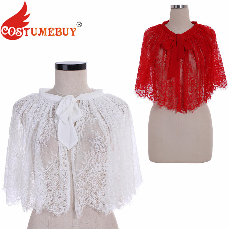 CostumeBuy Lace Cloak Mantle Coat Wicca Robe Medieval Cape Floral Girls Bridal Gown Shawl Halloween Cosplay Party Costumes