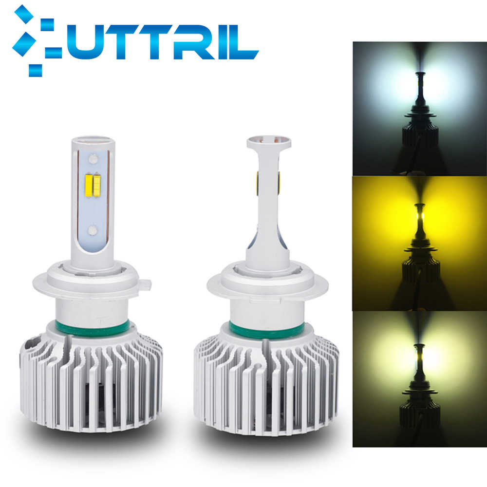 Uttril Canbus H4 H7 LED 3 Colors Headlamp H8 H9 H11 H1 H3 9005 9006 880 881 H27 3000K 4300K 6000K Car LED Bulb 80W 8000LM 12V
