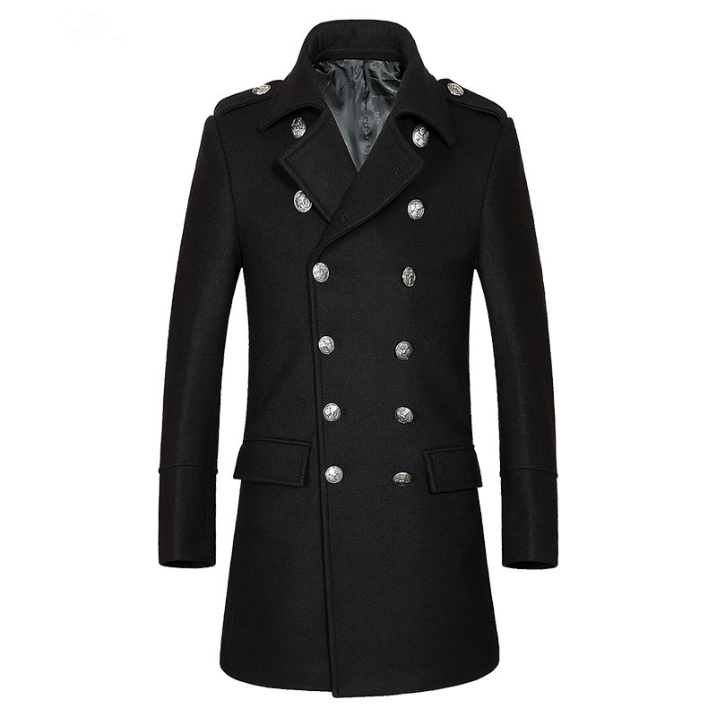 Tailor-made men Autumn and winter business thick and leisure double-breasted middle-aged male wool long trench coat