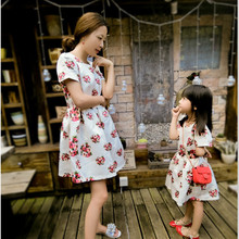 Family fashion summer clothes for mother and daughter 2016 female child fashion one-piece dress family parent-child pack beach