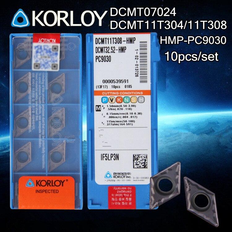 10p Korloy DCMT11T308-HMP PC9030 DCMT32.52-HMP CNC Carbide Insert Turning Tools