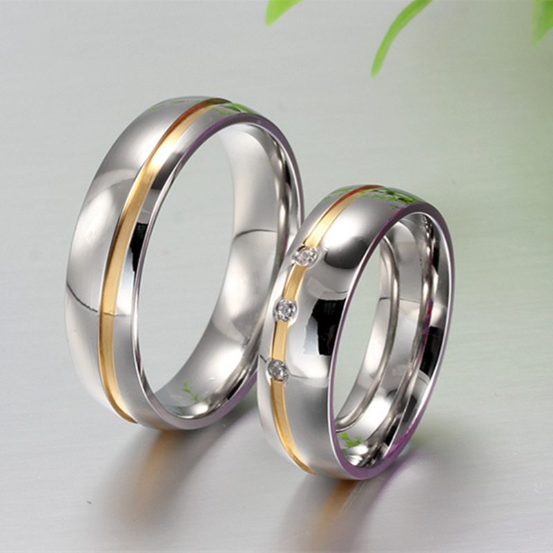 Cubic Zirconia ring Stainless steel couple wedding rings women men