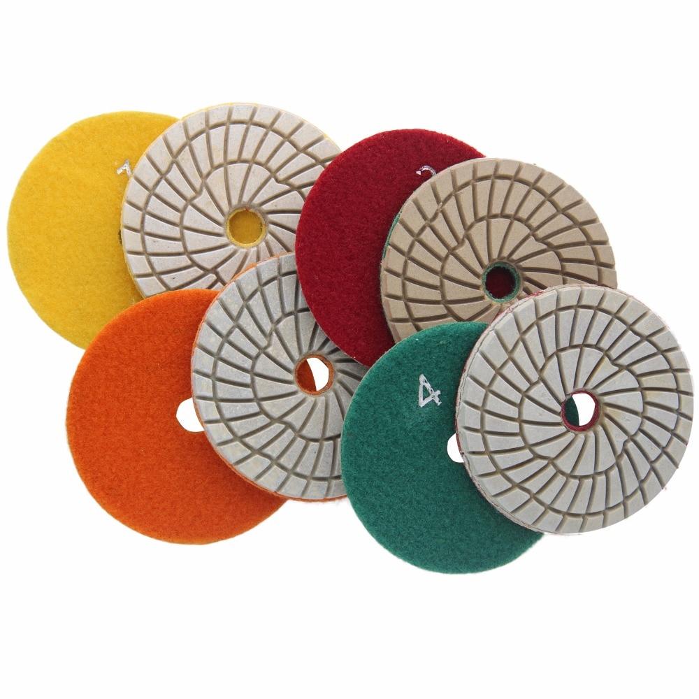 4 Step Polishing Pad 4 Inch 100mm Abrasive Disc Wheel Diamond Tool For Stone Marble Granite Tile Flexible Grinding