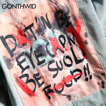 GONTHWID Mens Graffiti Denim Jackets Streetwear 2020 Hip Hop Casual Patchwork Ripped Distressed Punk Rock Jeans Coats Outwear