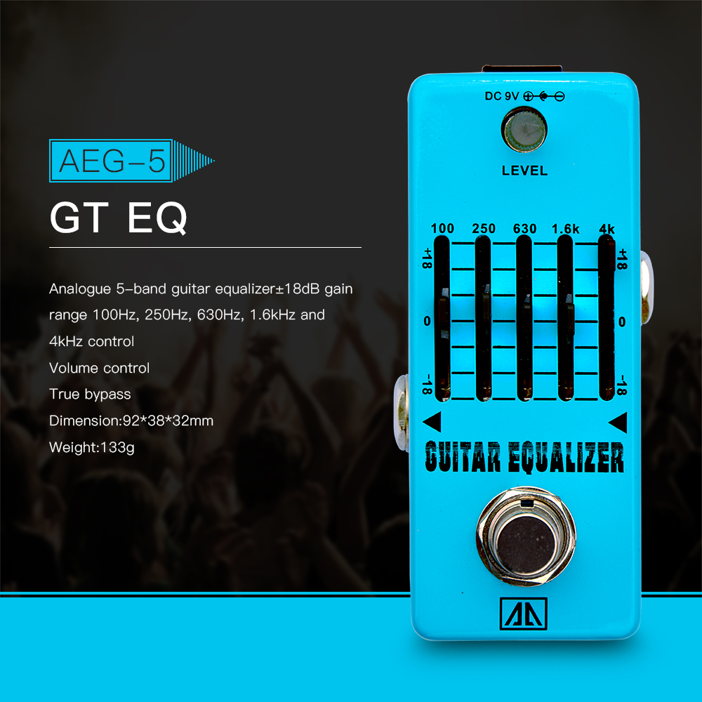 AROMA AEG-5 Analogue 5-Band Guitar EQ Equalizer Effect Pedal Aluminum Alloy Body True Bypass aroma adr 3 dumbler amp simulator guitar effect pedal mini single pedals with true bypass aluminium alloy guitar accessories