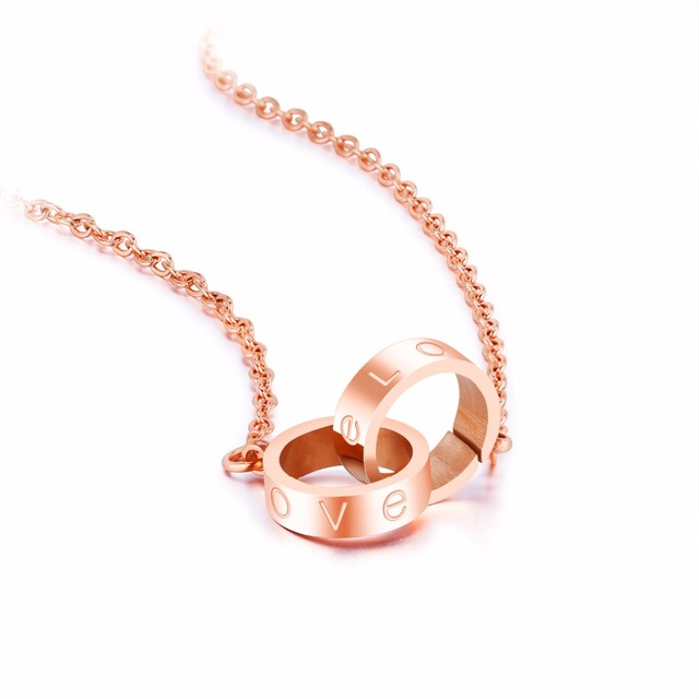 Designer Love Circle Pendant Necklace Women Jewelry Rose Gold Color