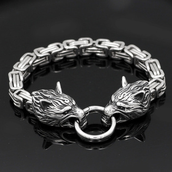 Stainless Steel King Chain Viking Two Wolf Head Bracelet  Viking Bracelet