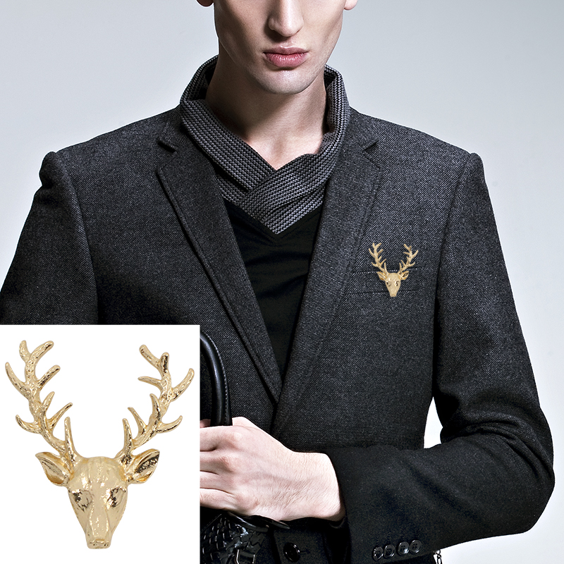 Trendy Brooches For Sale Gold Broche Fashion Retro Vintage Brooch Reindeer Stag Deer Head Pins For Suit Wedding Lapel Head