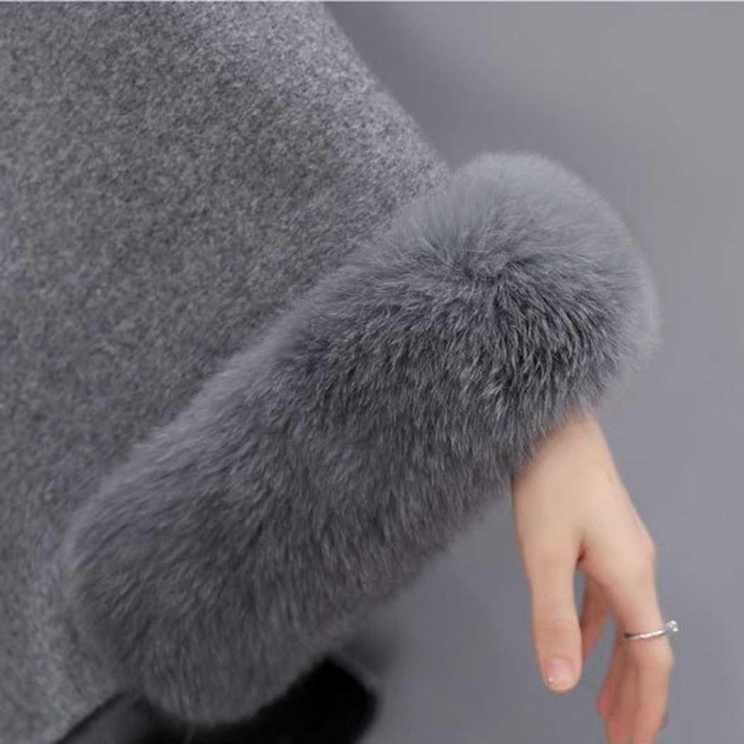 Женский зимний меховой воротник теплый пончо элегантное женское Шерстяное Пальто накидка Новая мода Летучая мышь пушистый рукав накидка пальто Feminino