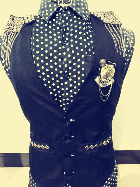 2014 fashion black slim male costume rivet jacket vest for male singer dancer dj show nightclub bar party performance