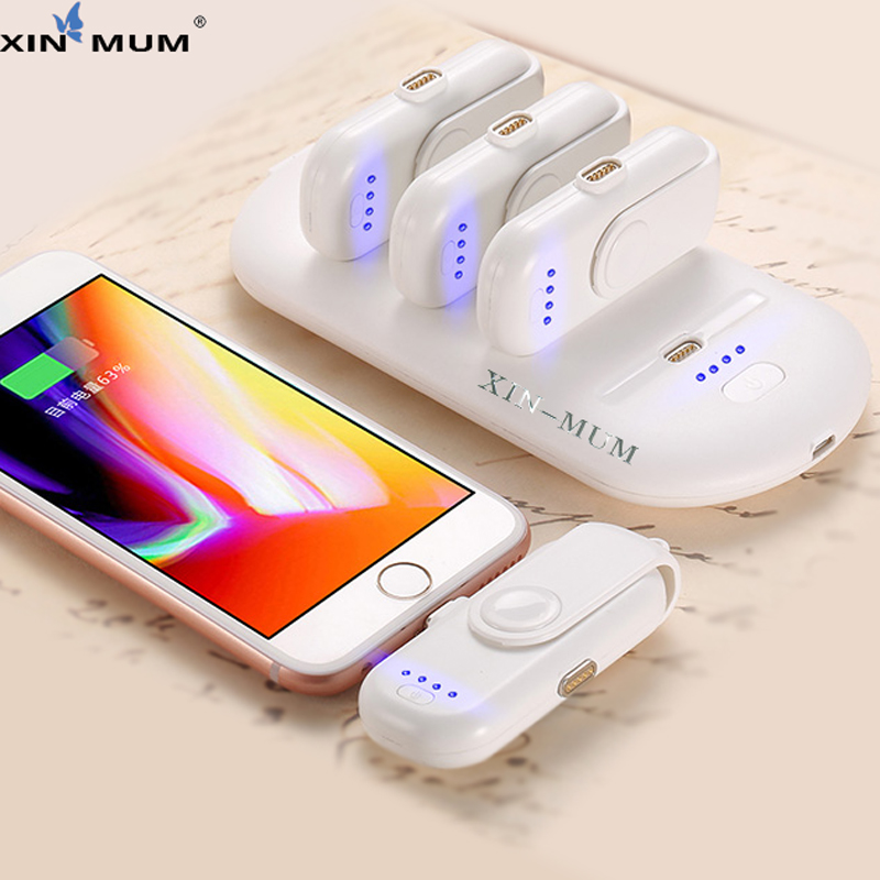 XIN-MUM Pad Dedo 5 Embalagens de Carga Powerbank Carregador Banco Do Poder de atração Magnética para iPhone Android Moblie Telefones do Tipo C