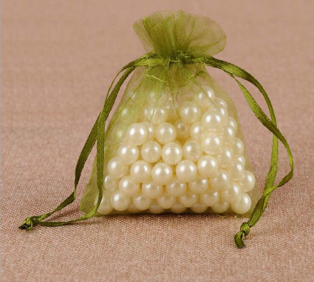 Household 100 pçs/lote Exército Verde Pequeno Grande Sacos de Organza Favor Do Casamento Drawable Sacos de Presente de Natal Sacos de Embalagem de Jóias Malotes