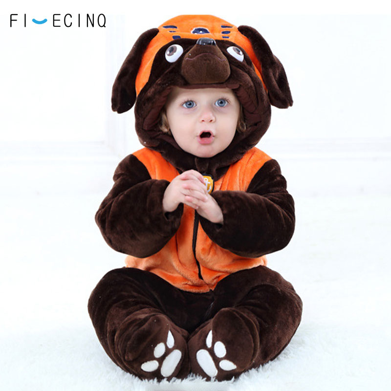 Creative Anime Patrol Dog Thick Baby Fluffy Zipper Infant Bodysuit  Cosplay Kigurumi  Cartoon  Kawaii Costume  Warm Winter Twins