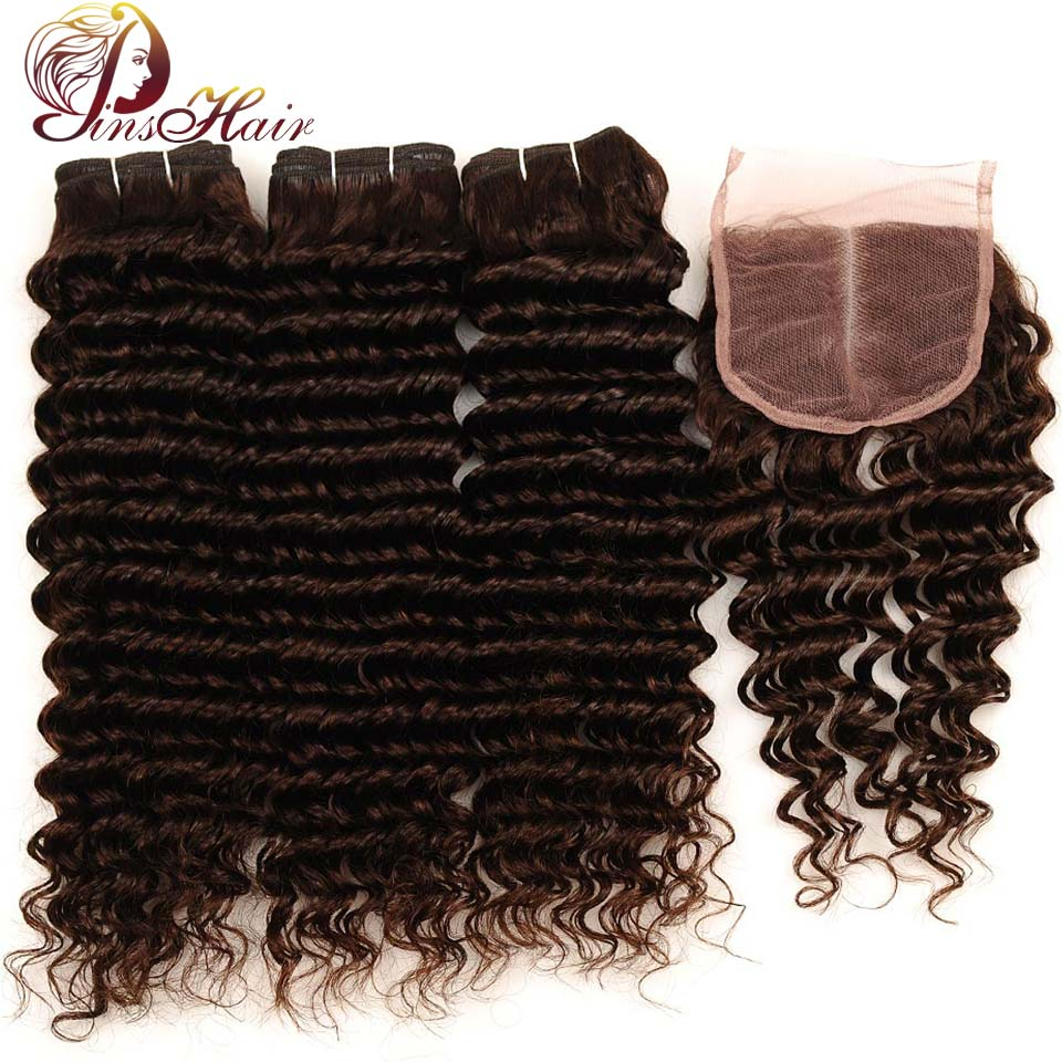 Pinshair Deep Wave Indian Hair 3 Bundles With Closure Brown Color 4 Non Remy 100 Thick Human Hair Weft Hair Bundles With Closure