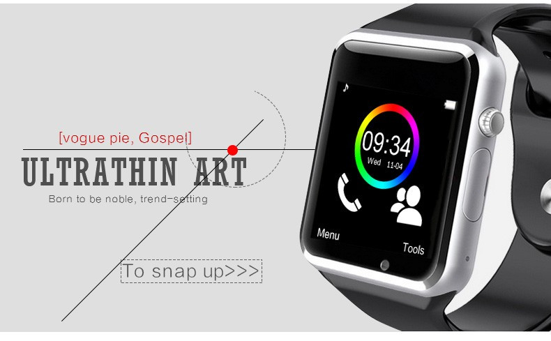2016 New Arrival A1 Smart Watch Clock Sync Notifier Support SIM TF Card Connectivity Apple iphone Android Phone Smartwatch 4
