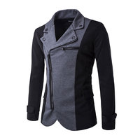 Free Shipping 2014 In The Spring And Autumn Winter New Men Leisure Suit Inclined Zipper Personality
