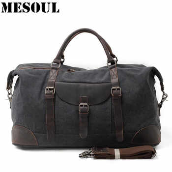 MESOUL Men Travel Bags hand luggage Canvas Duffle Bag Overnight Tote Youth Vintage Military Large Capacity Carry On Weekend Bag - Category 🛒 Luggage & Bags