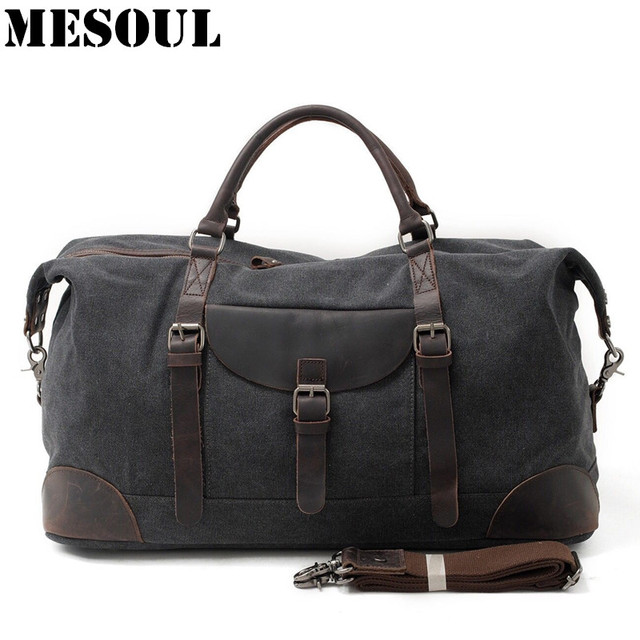 MESOUL Men Travel Bags hand luggage Canvas Duffle Bag Overnight Tote Youth  Vintage Military Large Capacity Carry On Weekend Bag d9cf97b7230f8