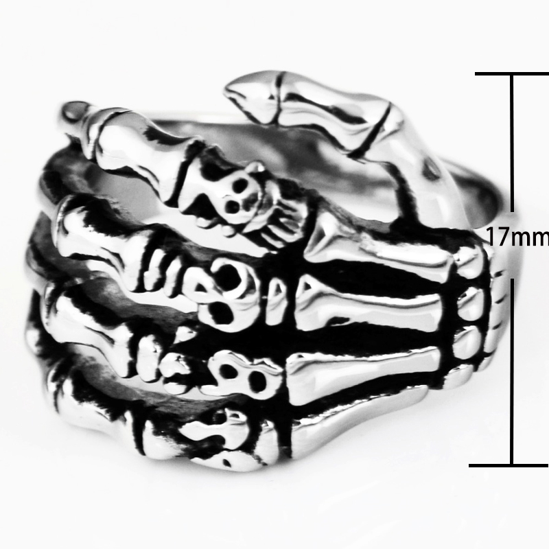 EdgLifU Pria Cincin hitam Vintage Punk Skeleton Rings Stainless steel - Perhiasan fashion - Foto 3