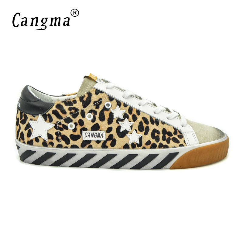 CANGMA Original Italy Deluxe Brand Superstar Men Shoes Genuine Leather Fur Male Casual Leopard Shoes Scarpe Chaussure Homme 2017 cangma original italy deluxe brand men golden shoes women handmade silver genuine leather goose shoes scarpa stella sapato 2017