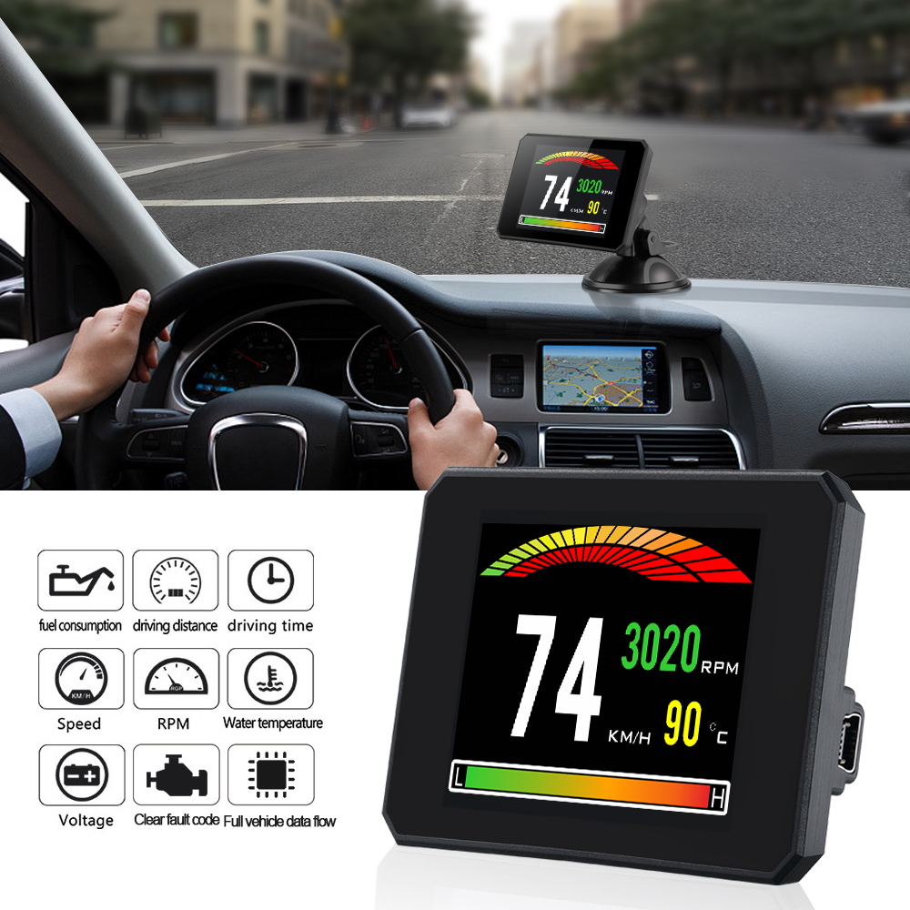 2019  New Diagnostic Tool 48  Functions ECU Data OBD Digital Meter P16 OBD2 Trip Computer Clear The Fault Code With Directly-in Head-up Display from Automobiles & Motorcycles