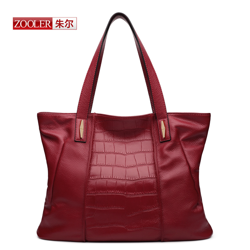 ZOOLER New 2016 arrival Genuine leather handbags Red wine bags luxury brand bags Alligator real leather