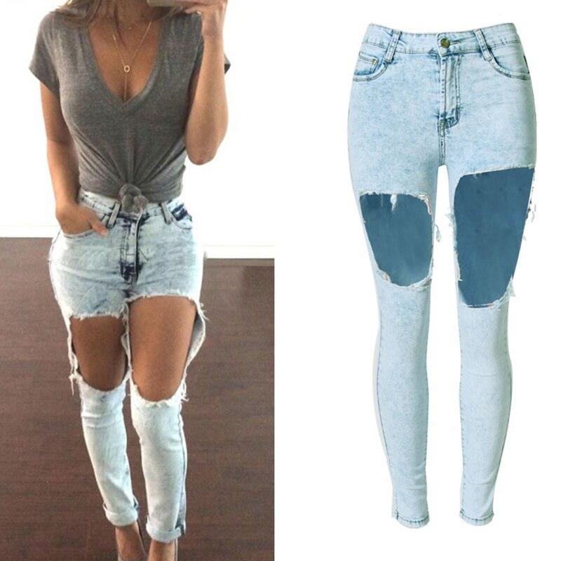 European style Pure cotton hole women jeans plus size high quality fashion vintage boyfriend high waist